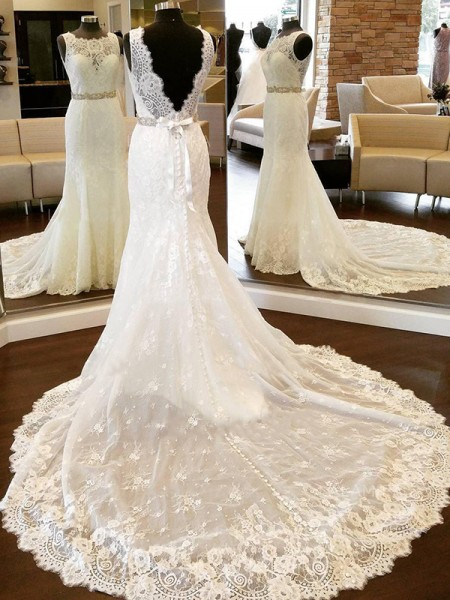 Sheath/Column Scoop Sleeveless Chapel Train Lace Bowknot Wedding Dresses
