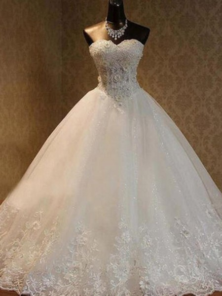 Ball Gown Sweetheart Sleeveless Floor-Length Tulle Beading Wedding Dresses