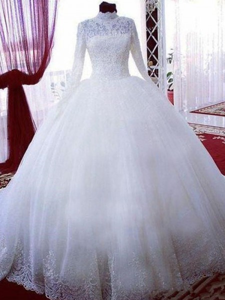 Ball Gown High Neck Long Sleeves Chapel Train Tulle Wedding Dresses