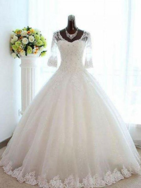 Ball Gown Bateau 3/4 Sleeves Floor-Length Tulle Beading Wedding Dresses