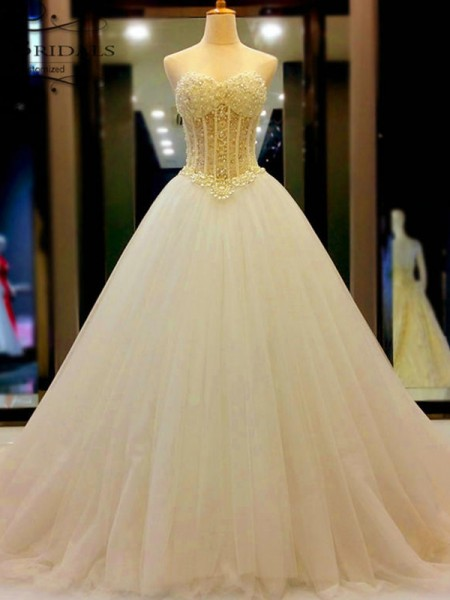 Ball Gown Sweetheart Sleeveless Court Train Tulle Beading Wedding Dresses