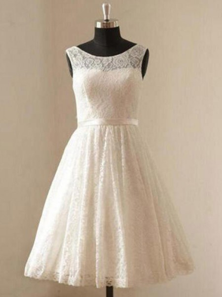 A-Line/Princess Scoop Sleeveless Knee-Length Lace Sash/Ribbon/Belt Wedding Dresses