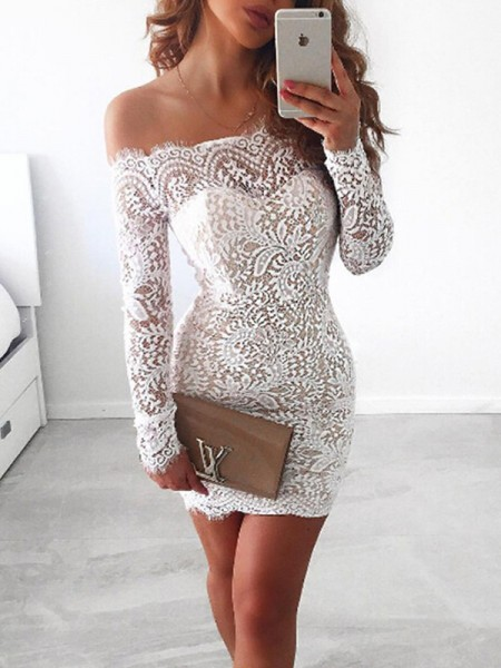 Sheath/Column Long Sleeves Short/Mini Lace Off-the-Shoulder Dresses