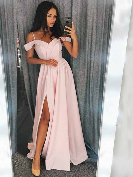 A-Line/Princess Sleeveless Sweep/Brush Train Satin Off-the-Shoulder Ruffles Dresses