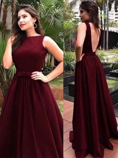 A-Line/Princess Sleeveless Floor-Length Velvet Bateau Sash/Ribbon/Belt Dresses