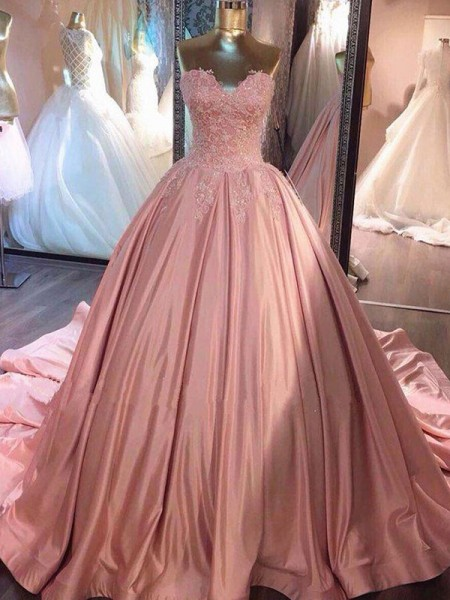 Ball Gown Sleeveless Court Train Satin Sweetheart Dresses