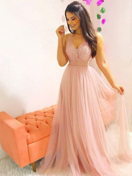 A-Line/Princess Sleeveless Sweep/Brush Train Tulle V-neck Crystal Dresses