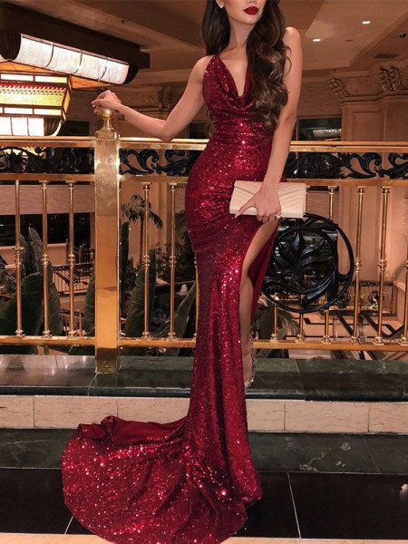 Trumpet/Mermaid Sequins V-neck Sleeveless Ruffles Sweep/Brush Train Dresses