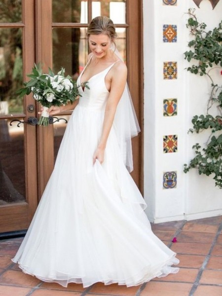 A-Line/Princess Tulle V-neck Sleeveless Ruffles Sweep/Brush Train Wedding Dresses