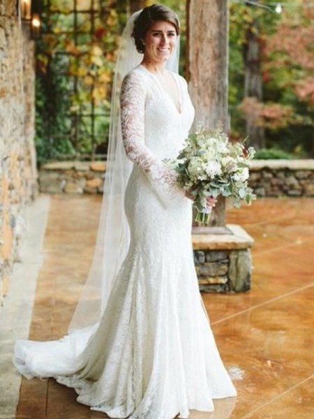 Trumpet/Mermaid Lace V-neck Long Sleeves Ruffles Sweep/Brush Train Wedding Dresses