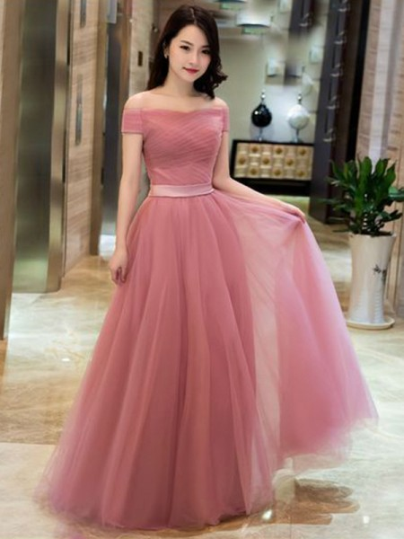 A-Line/Princess Tulle Off-the-Shoulder Sleeveless Ruffles Floor-Length Dresses