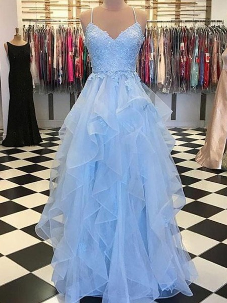A-Line/Princess Sleeveless Spaghetti Straps Organza Floor-Length Applique Dresses