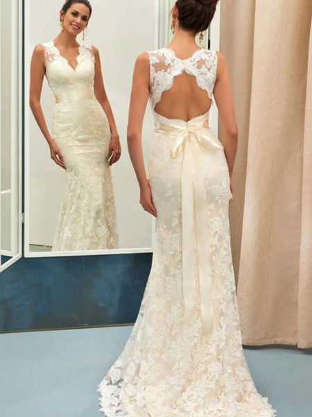 Trumpet/Mermaid Sleeveless V-neck Lace Sweep/Brush Train Sash/Ribbon/Belt Wedding Dresses