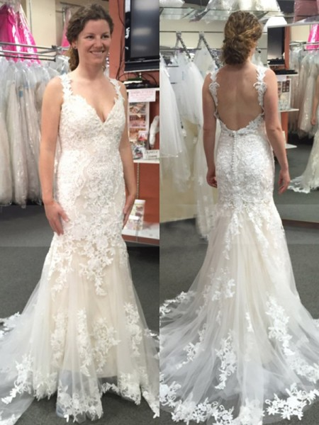 Trumpet/Mermaid Sleeveless Straps Tulle Sweep/Brush Train Applique Wedding Dresses