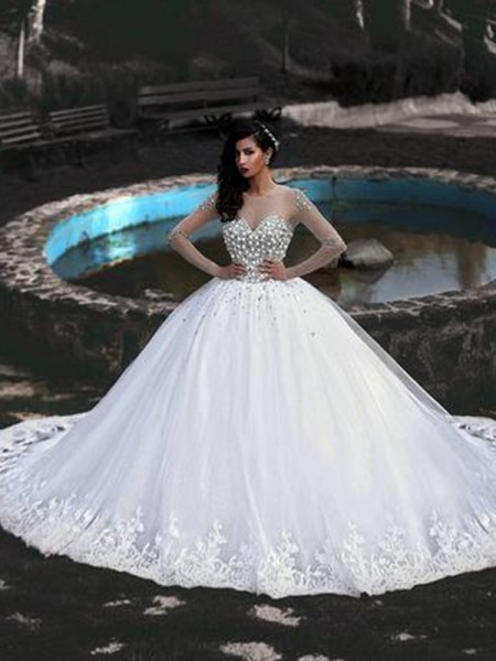 Ball Gown Long Sleeves Scoop Tulle Sweep/Brush Train Beading Wedding Dresses