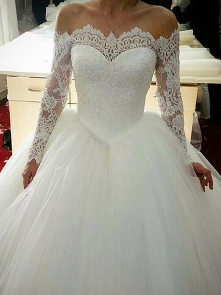Ball Gown Long Sleeves Off-the-Shoulder Tulle Sweep/Brush Train Applique Wedding Dresses