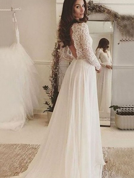 A-Line/Princess Long Sleeves Scoop Chiffon Sweep/Brush Train Wedding Dresses