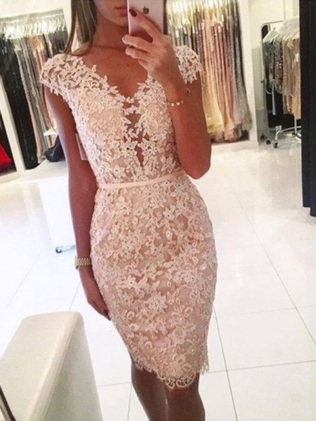 Sheath/Column Sleeveless V-neck Knee-Length Lace Dresses