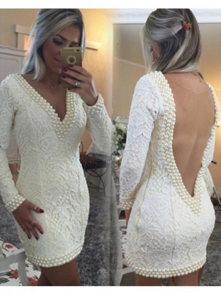 A-line/Princess V-neck Lace Long Sleeves Pearls Short/Mini Dresses