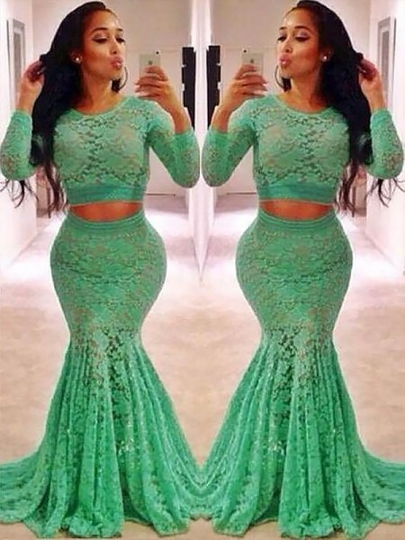 Trumpet/Mermaid Scoop Lace Long Sleeves Ruffles Sweep/Brush Train Dresses