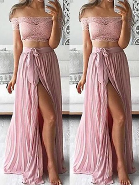 A-Line/Princess Off-the-Shoulder Chiffon Sleeveless Floor-Length Dresses