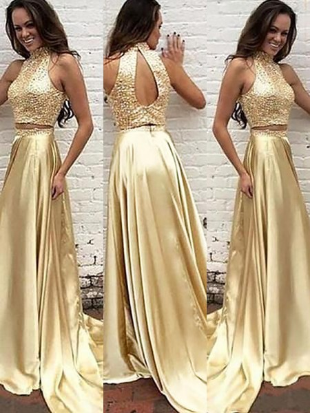 A-Line/Princess High Neck Satin Sleeveless Beading Sweep/Brush Train Dresses
