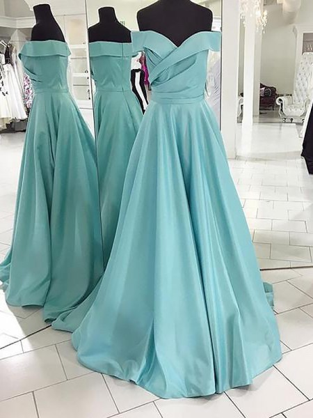 A-Line/Princess Off-the-Shoulder Satin Sleeveless Ruched Sweep/Brush Train Dresses