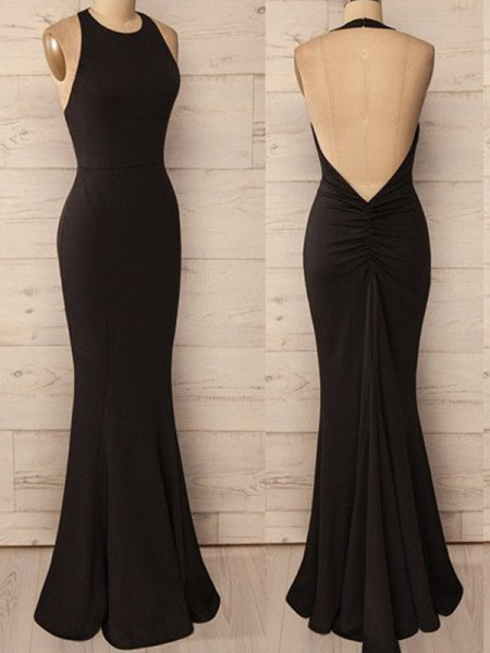 Trumpet/Mermaid Sleeveless Halter Spandex Floor-Length Dresses