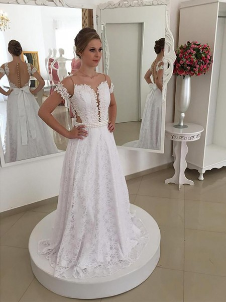 A-Line/Princess Short Sleeves Scoop Lace Sweep/Brush Train Wedding Dresses