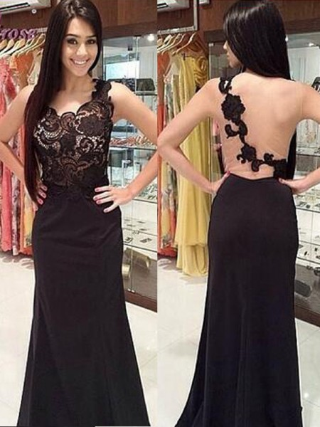 Sheath/Column Sleeveless Scoop Chiffon Floor-Length Dresses