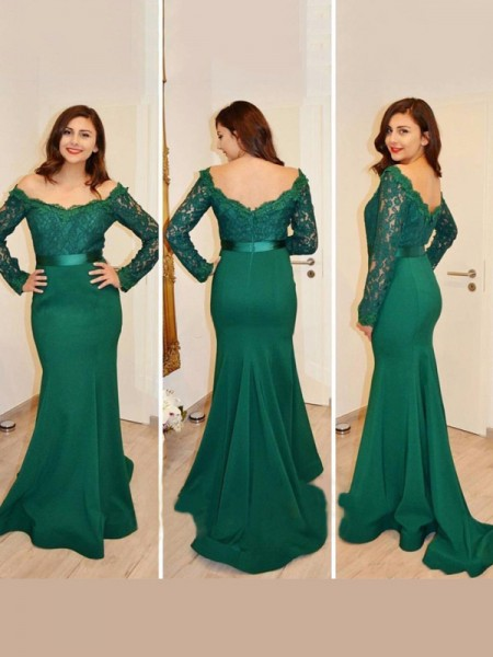 Trumpet/Mermaid Long Sleeves Off-the-Shoulder Satin Floor-Length Applique Dresses