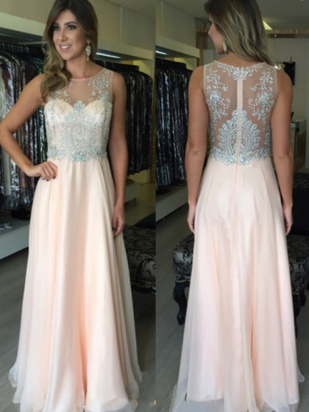 A-Line/Princess Sleeveless Scoop Chiffon Floor-Length Beading Dresses