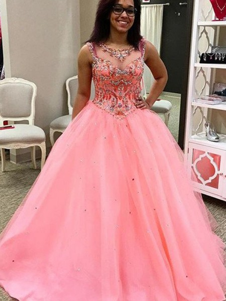 Ball Gown Sleeveless Sweetheart Tulle Floor-Length Beading Dresses