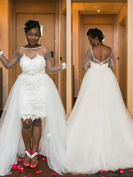 A-Line/Princess Long Sleeves Scoop Tulle Court Train Wedding Dresses