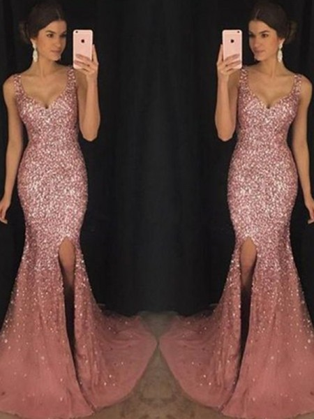 Sheath/Column Sleeveless Sequin Sweep/Brush Train Sweetheart Tulle Dresses