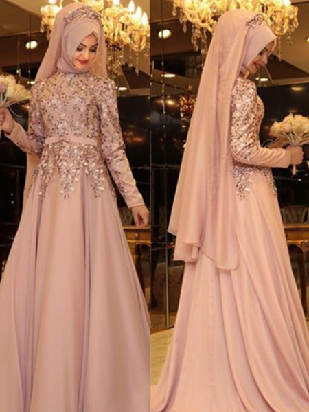 A-Line/Princess Long Sleeves Beading Floor-Length High Neck Chiffon Dresses