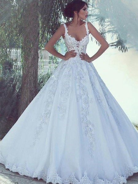 Ball Gown Sleeveless Sweep/Brush Train Scoop Satin Wedding Dresses