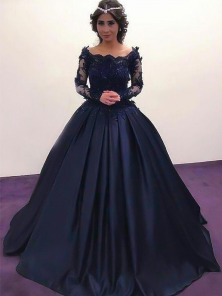 Ball Gown Long Sleeves Applique Sweep/Brush Train Bateau Satin Dresses