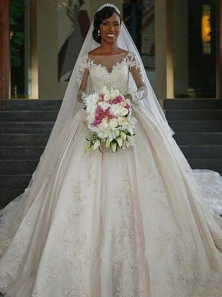 Ball Gown Long Sleeves Applique Sweep/Brush Train Bateau Satin Wedding Dresses