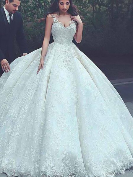 Ball Gown Sleeveless Sweep/Brush Train Spaghetti Straps Tulle Wedding Dresses