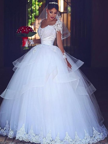 Ball Gown Long Sleeves Floor-Length Sweetheart Tulle Wedding Dresses