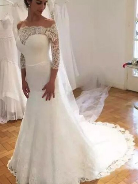 Trumpet/Mermaid 3/4 Sleeves Ruffles Sweep/Brush Train Off-the-Shoulder Lace Wedding Dresses
