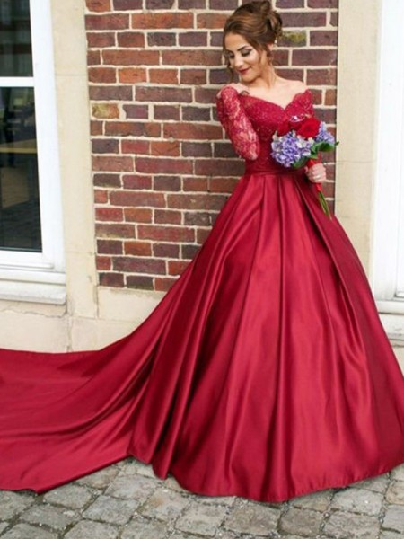 A-Line/Princess Long Sleeves Sweep/Brush Train V-neck Satin Dresses