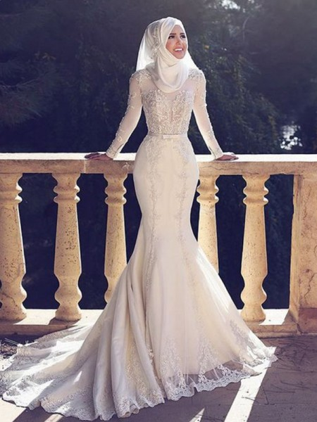 Trumpet/Mermaid Long Sleeves Sweep/Brush Train Jewel Tulle Wedding Dresses