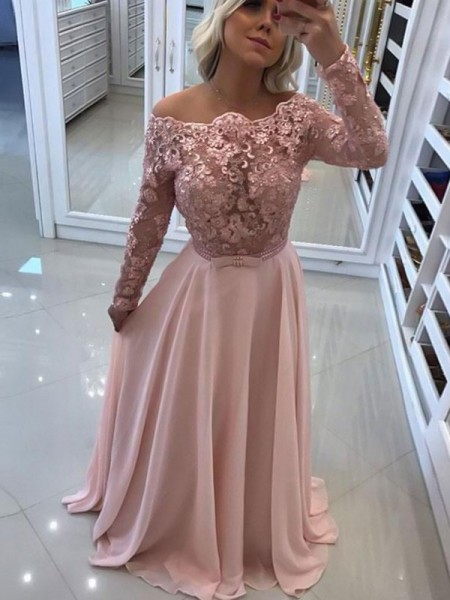 A-Line/Princess Long Sleeves Floor-Length Bateau Chiffon Dresses