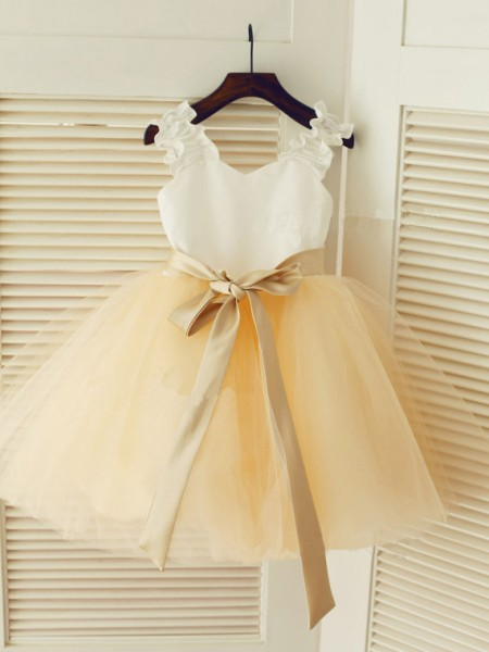 Ball Gown Sleeveless Straps Tulle Tea-Length Sash/Ribbon/Belt Flower Girl Dresses