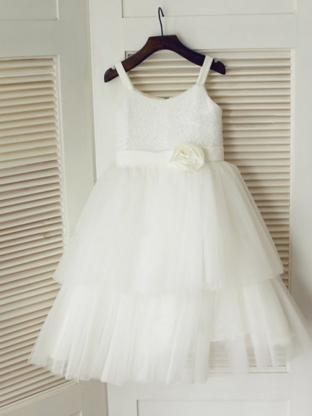A-Line/Princess Sleeveless Spaghetti Straps Tulle Tea-Length Hand-Made Flower Flower Girl Dresses