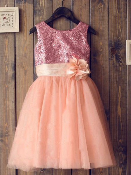 A-Line/Princess Sleeveless Scoop Tulle Knee-Length Sequin Flower Girl Dresses