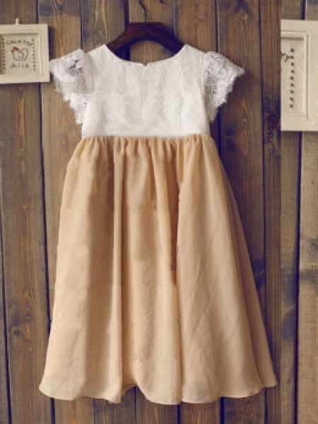 A-Line/Princess Short Sleeves Scoop Chiffon Tea-Length Flower Girl Dresses